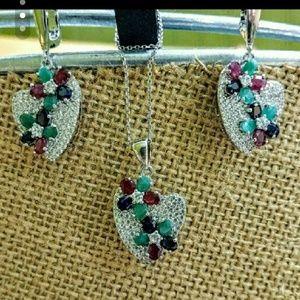 Jewelry - Sterling Multi-Gem Earring/Pendent Set